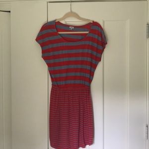 red and blue casual dress